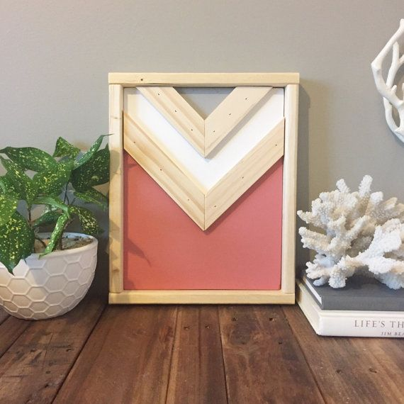 Modern rustic chevron wood wall art coral by SamBeeDesigns on Etsy