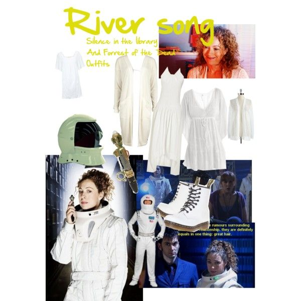 Doctor who River Song Silence in the Library and Forrest of the Dead Outfits by clararycbar on Polyvore featuring Priory of Ten, Cool Change, Object Collectors Item, GUESS, Accessorize, Dr. Martens and Episode