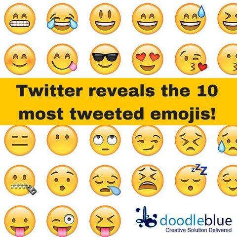 Twitter reveals the 10 most tweeted emojis!  To know more about latest technology updates stay in touch with http://www.doodleblue.com