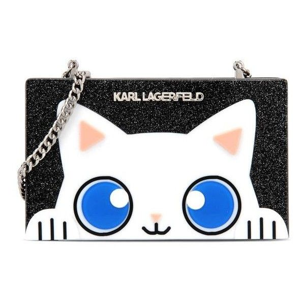 Karl Lagerfeld Peek-A-Boo Minaudiere ($165) ❤ liked on Polyvore featuring bags, handbags, clutches, black, glitter handbag, handbags purses, box clutch, karl lagerfeld handbags and lucite handbags