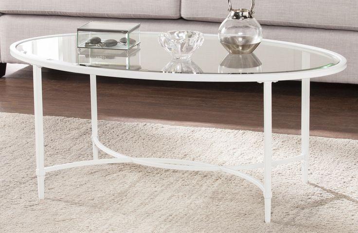 Lincoln Metal/Glass Oval Coffee Table