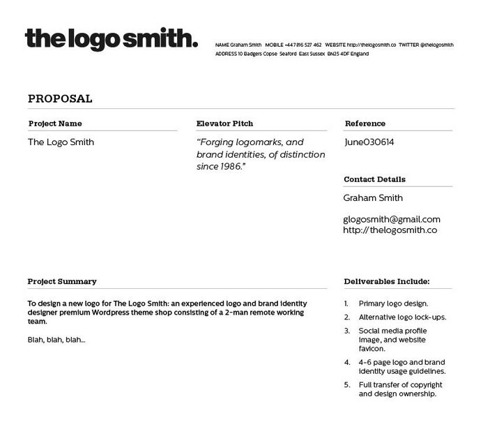 Proposal and invoice template
