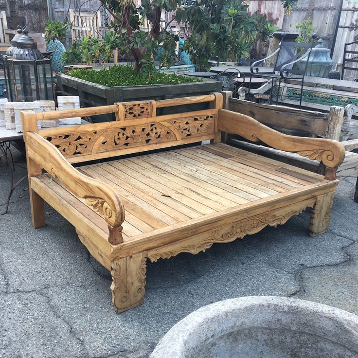 Teak carved wood daybed. Full size. Wood daybed, Wooden