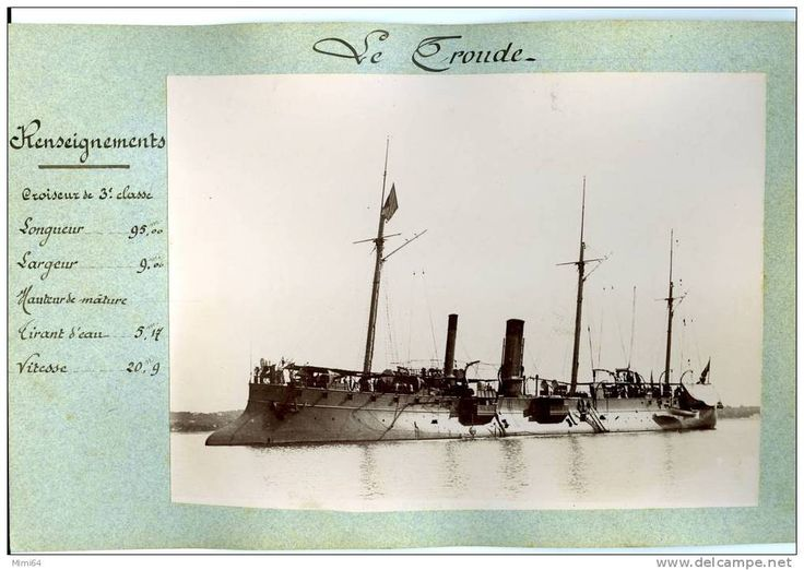 """Le """"Troude"""" (1888). 1994t protected cruiser. Armed with 4-5.5in/30 QFC M1884 and 150 mines. 1.6in curved armoured deck."""