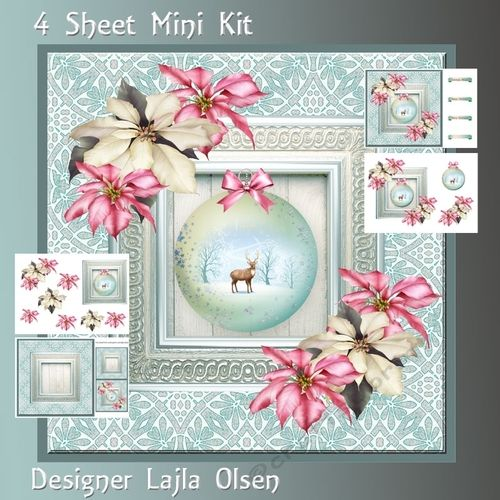 Cristmasball and poinsettias on Craftsuprint designed by Lajla Olsen - This kit…