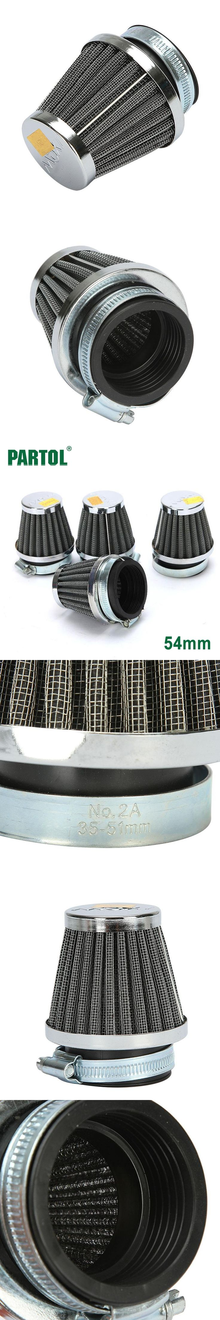 Partol 4x 54mm Conical Style Motorcycle Air Filter Mushroom Air Intake Filters Adjustable Clamp For Kawasaki Yamaha  Scooter