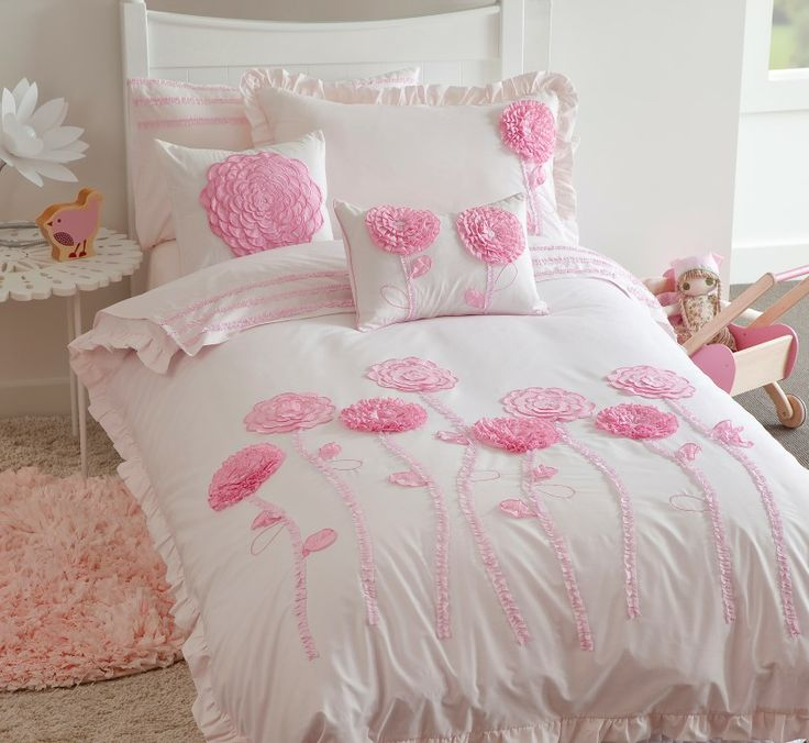 Floret Pink  - this has been our best selling design since being introduced in June 2011 This exquisite bed of three dimensional flowers float prettily across the design to capture and inspire little imaginations 225TC Polyester Cotton Available in:  Quilt Cover sets- SB, DB & QB Sheet Sets - SB & KSB 45 x 45cm  Filled Cushion 45 x 30cm Filled Cushions http://store.dreamtimeaustralia.com.au/product/floret