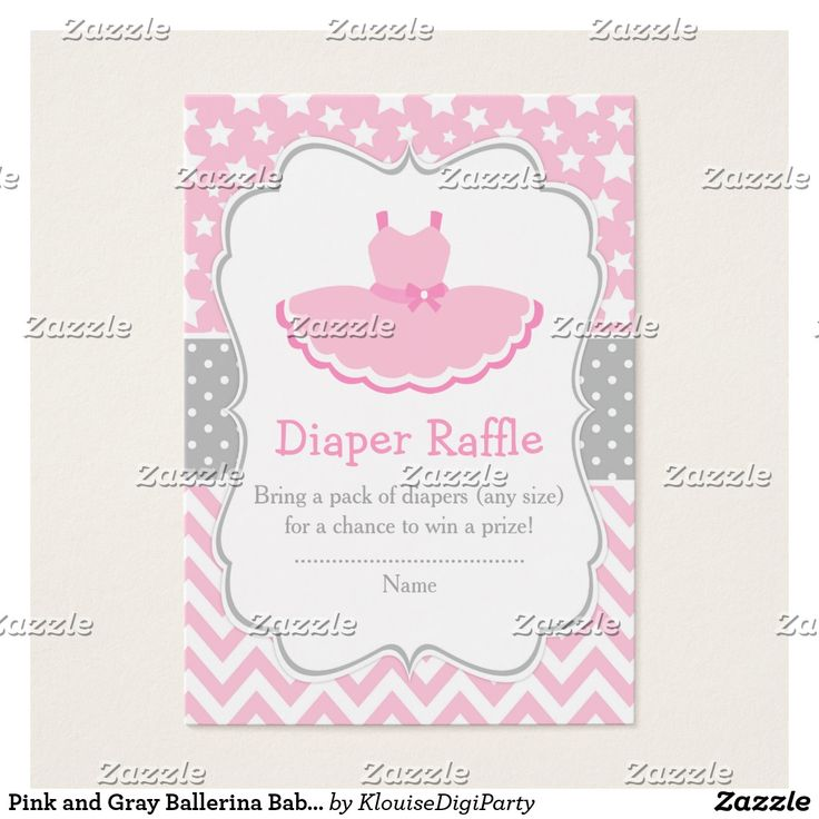 Pink and Gray Ballerina Baby Shower Diaper Raffle Business Card