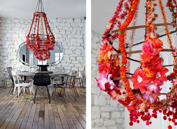 DIY flower chandelier by Paola Navone