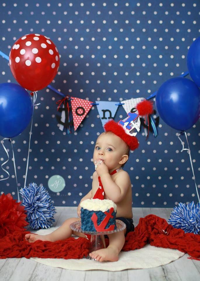 Sailor smash cake, boys 1st birthday, anchor, red white & blue, Sara Jean Photography