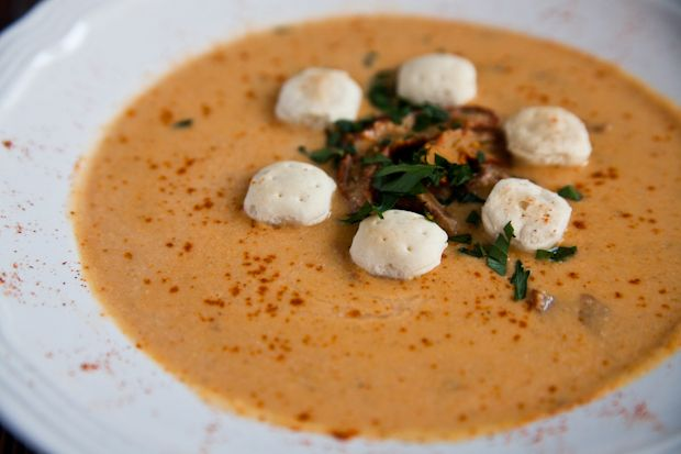 Vegan Lobster Bisque recipe from http://veganbelle.com/2012/06/vegan-lobster-bisque/.