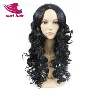 Top Quality Long Black Curly Wigs For Black Women Afro Curly Synthetic Wig Cheap Wigs For Women Black Wig Cosplay Peruke Pelucas
