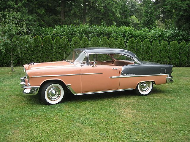 This is exactly like the first car I owned, a coral and gray 1955 Chevrolet Bel …