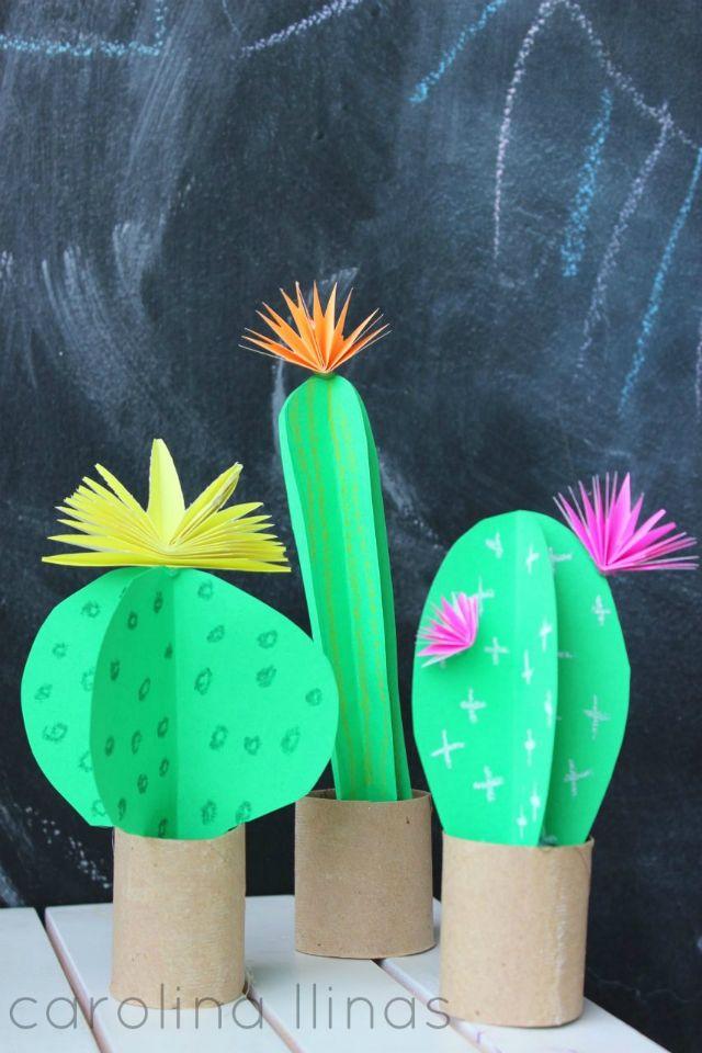 Mini jardín de cactus de papel y rollos de cartón   #Artividades