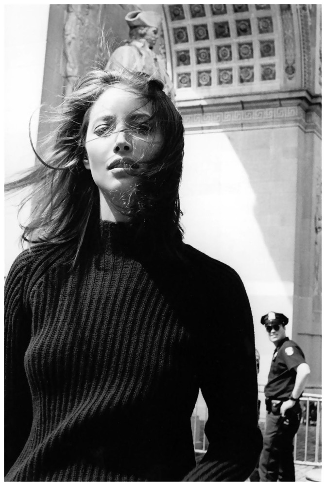 Christy Turlington at Stanford White's Washington Square Arch, photographed by Pamela Hanson for Esquire, November 1997.