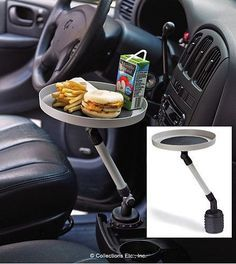 Cool New Product: A handy tray fits into your car's cupholder. This is actually pretty cool. lol