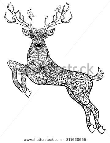 Hand Drawn Christmas Magic Horned Deer With Birds For Adult Anti Stress Coloring Page High Details Isolated On White Background Illustration In