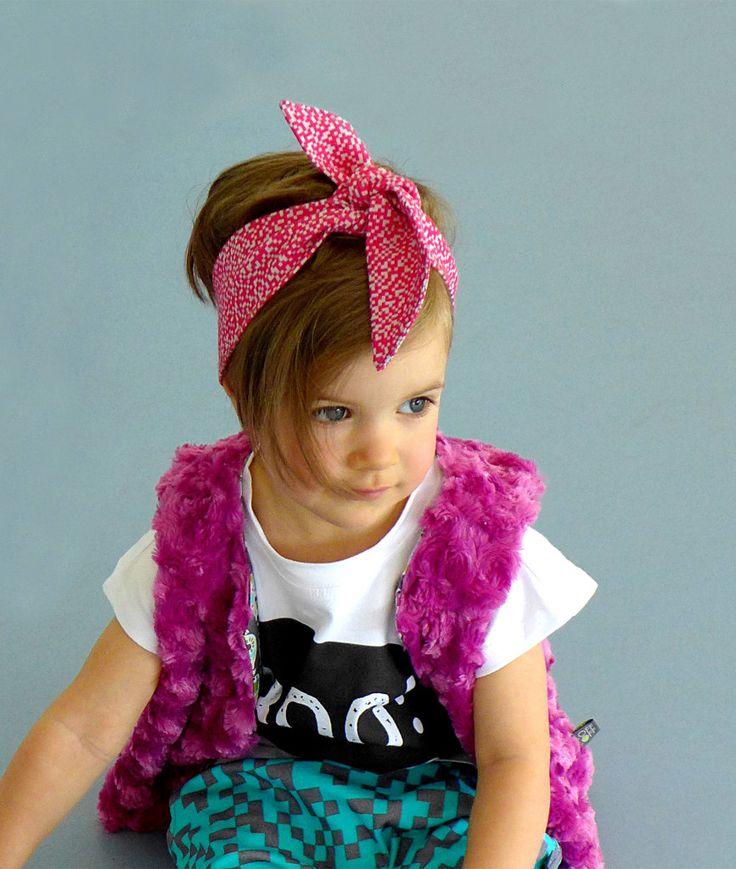 Headband pink PIXELS | organic cotton
