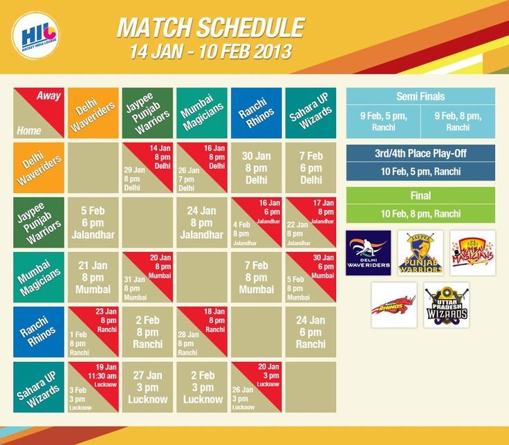 Hockey India League Match Schedule.  Games commence Jan 14. #HIL #Ultimatewarriors #ridingawave #ranchirhinos