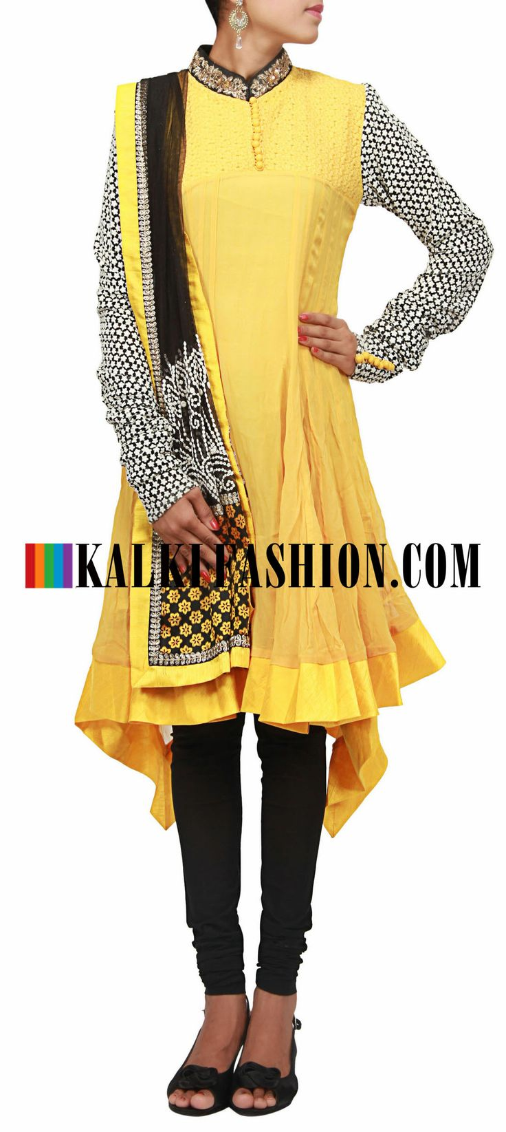 Buy Online from the link below. We ship worldwide (Free Shipping over US$100)  http://www.kalkifashion.com/yellow-anarkali-suit-embroidered-in-lucknowi-work-only-on-kalki.html Yellow anarkali suit embroidered in lucknowi work only on Kalki