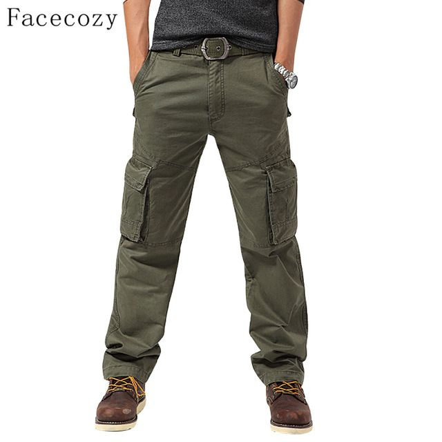 Today Sale $27.99, Buy Facecozy Men Autumn Outdoor Sports Pant Male Windproof Multi-pockets Camping Loose Style Trouser