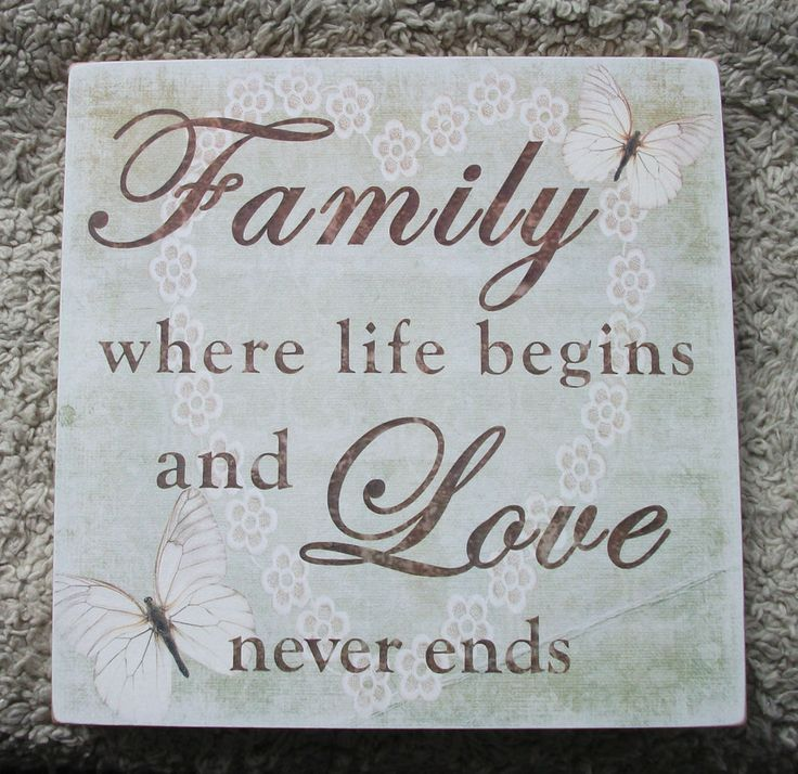 Family plaque, where life begins and love never ends - handmade wooden plaque