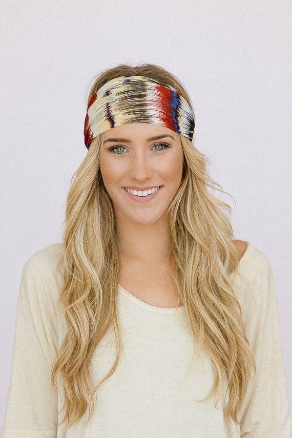 hippie hair and head wrap | Hippie Feather Headband Chiffon Wide Hair Band Accessory Maroon, Blue ...