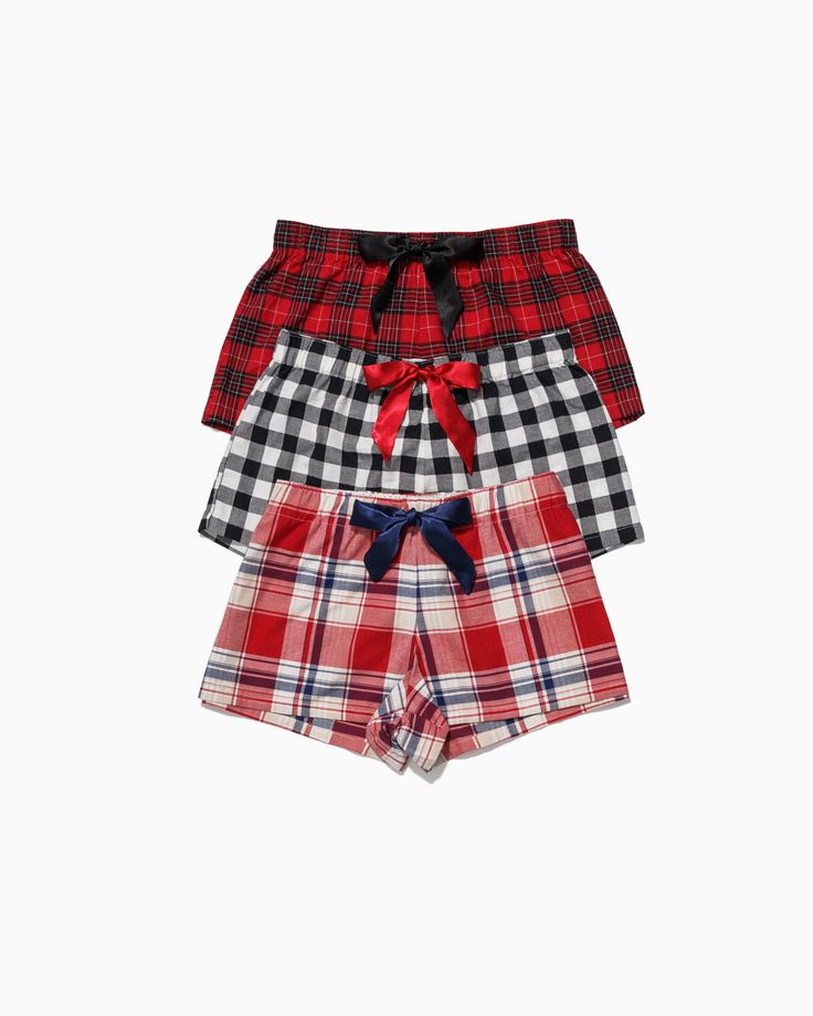 Checked flannel shorts