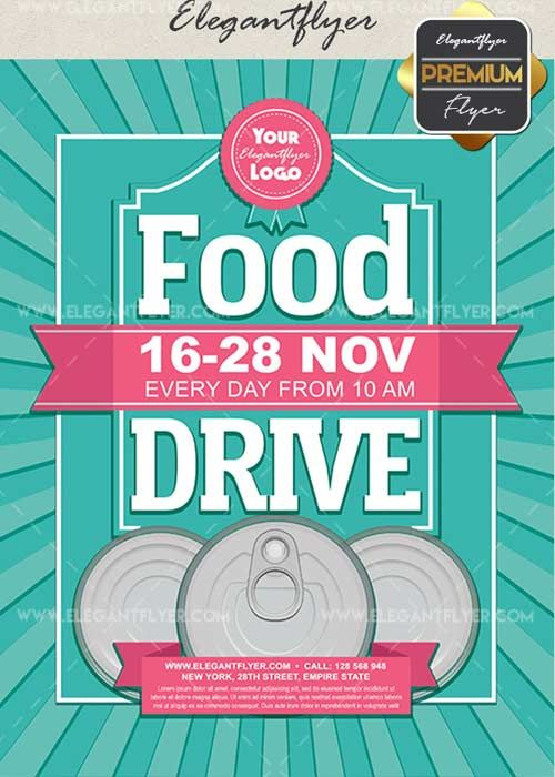 Download Food Drive V14 Flyer PSD Template  Facebook Cover Free
