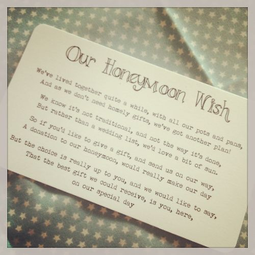 Wedding Gift Poems Charity : ... wedding invitation stationery sample Wedding, Honeymoon fund and