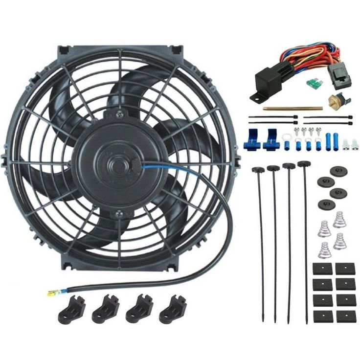 """10"""" Inch Electric Cooling Fan 12 Volt Push-In Radiator Fin Probe Thermostat Kit"""