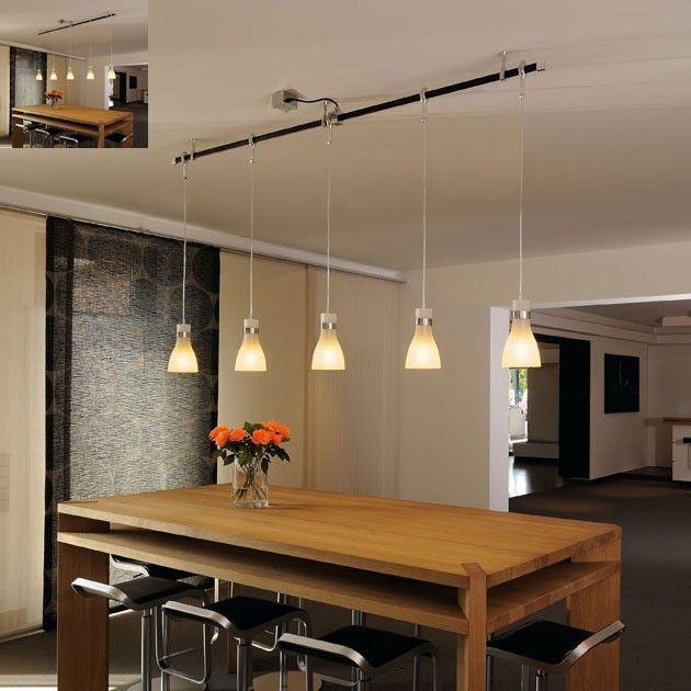 Voici une rail ou sont dispos s plusieurs luminaire for Suspension luminaire pour bar de cuisine