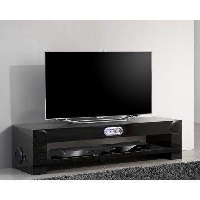 Meuble TV noir avec chaîne Hifi intégrée