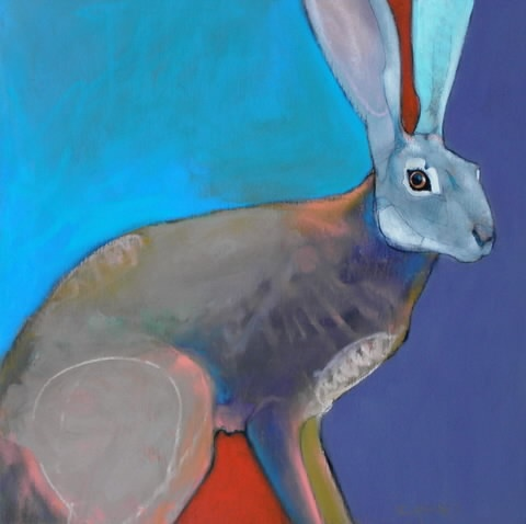 """Rebecca Haines - The Magic Hare, oil and pencil on panel, 12"""" x 12"""""""