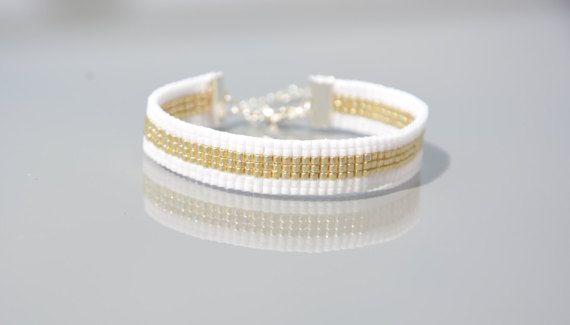 Bracelet tissé perles Miyuki Delicas 11/0  fermoir et par Fichute