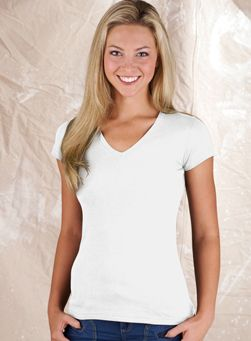 Ladies fitted v neck t shirts in white junior cut fit for Fitted white dress shirt womens
