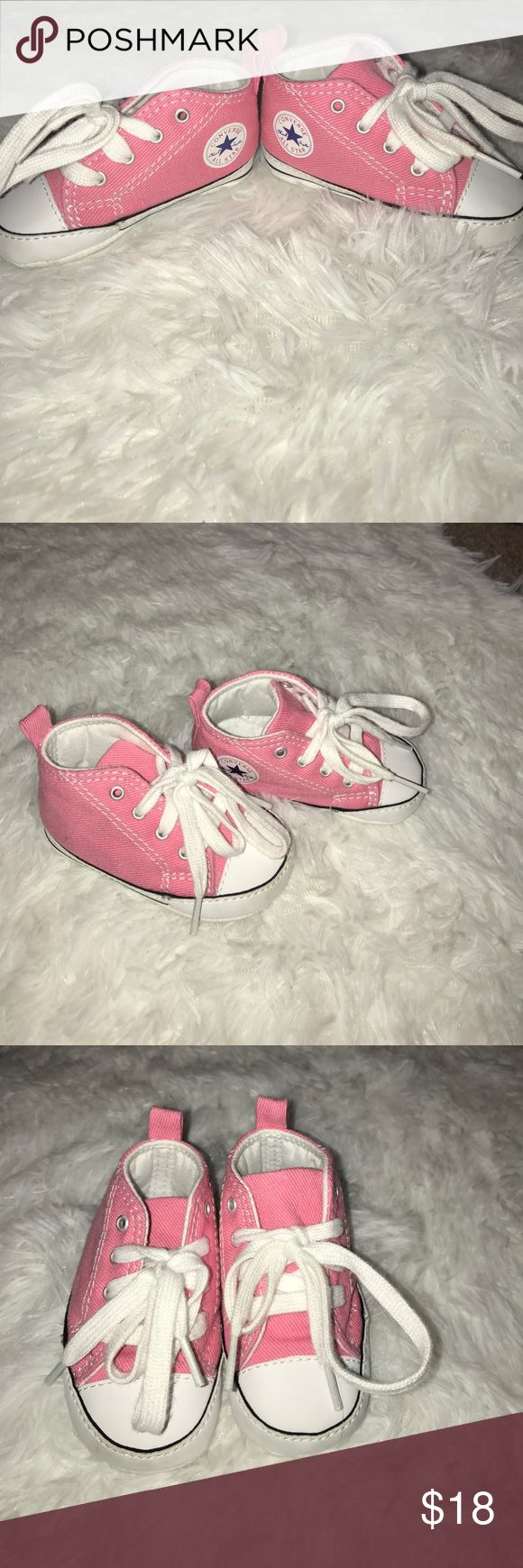 Converse Baby Shoes Pink and white Baby Converse shoes!! It's getting cooler and these will be perfect!! NWB BUNDLE 2 OR MORE KIDS ITEMS AND I'LL MAKE YOU AN OFFER! Converse Shoes Baby & Walker