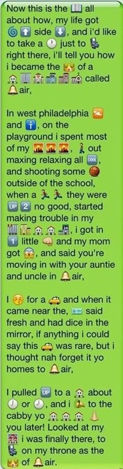 Superb The rap for the Fresh Prince of Bel Air with emojis that One Direction likes and