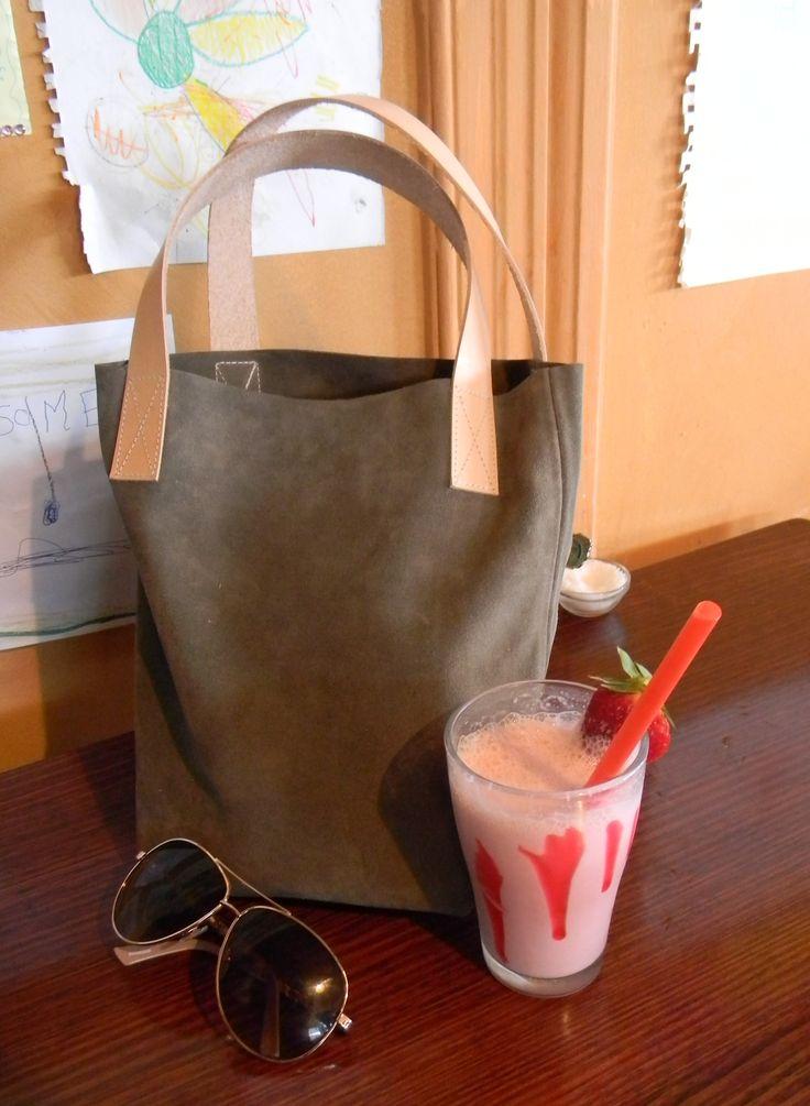 Little Lara Bag in Grey/Brown Italian suede $89.00 Aud