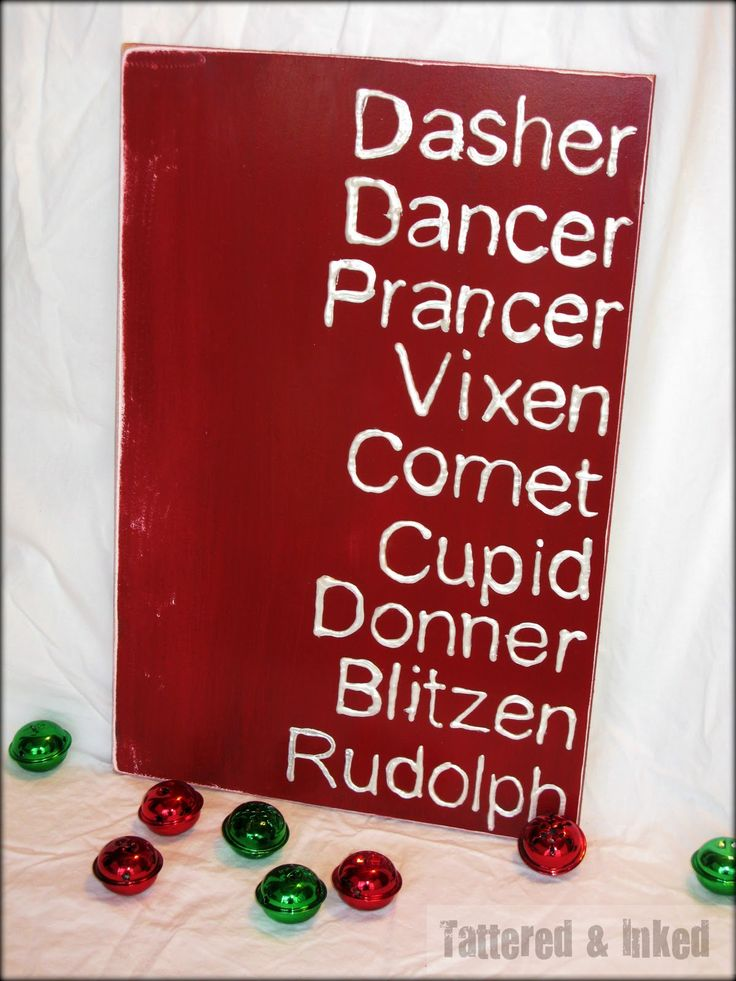Tattered and Inked: Reindeer Names Sign