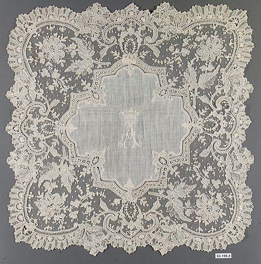 Handkerchief, French, 1875-89, linen, needle lace