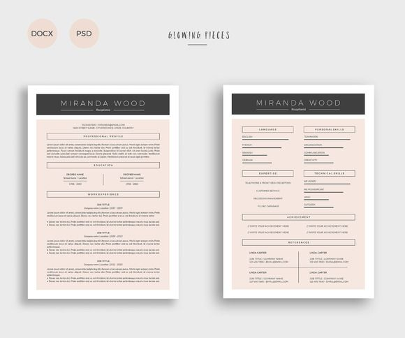 2 Page Resume \ Cover Letter by Glowing Pieces on @creativemarket - 2 page resumes