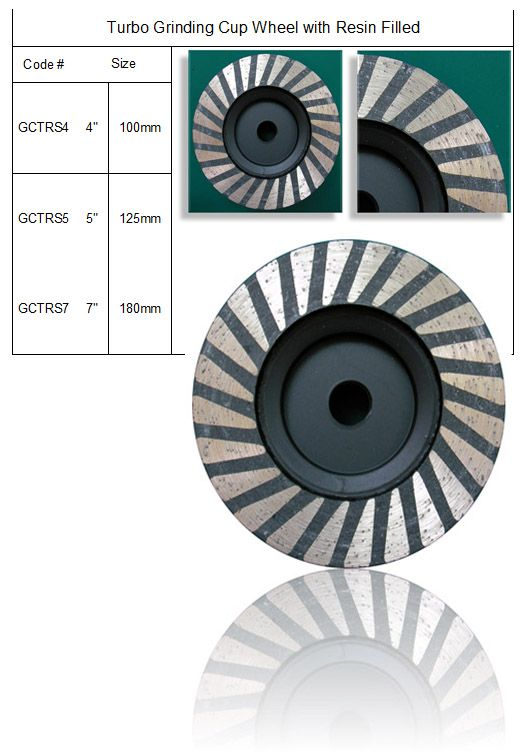 Turbo Grinding Cup Wheel Resin Filled