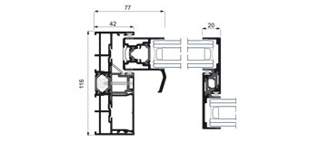 Section system detail Cor-Vision Sliding System with thermal break