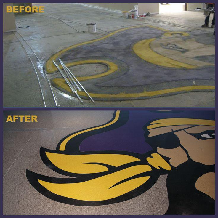 Before and After Photos at ECU Auxiliary Gym in Greenville, North Carolina.  www.doyledickersonterrazzo.com  #dividerstrip #logo #terrazzo #design #pirate #ecu #university #flooring