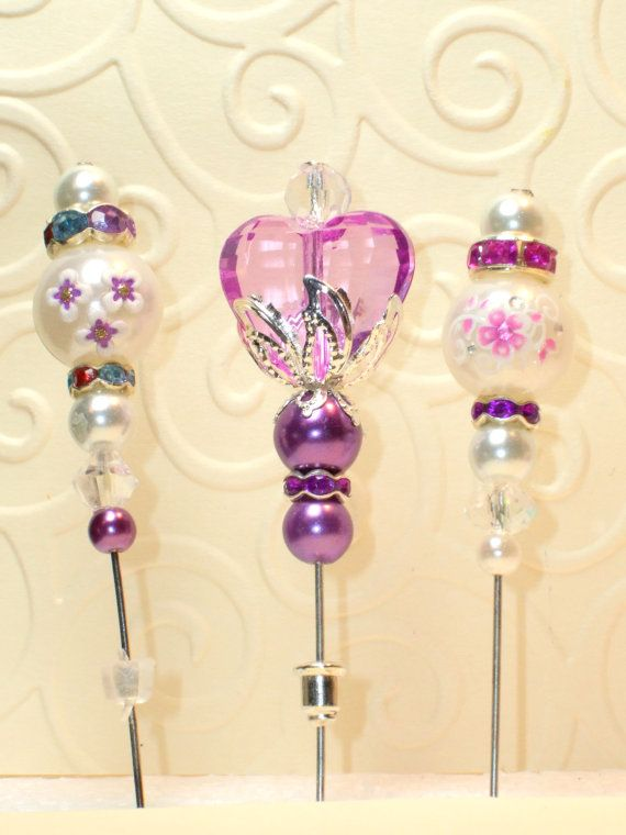 3 Vintage Style Heart Stick Pins Set for Fall ♥ by joannalaj