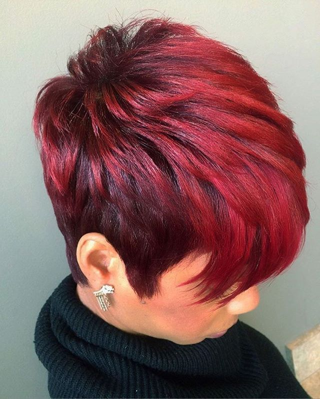 STYLIST FEATURE| In love with this #haircolor on this #pixie ✂️styled by #detroitstylist @thelivingroomhairlounge ❤️ Red hot #voiceofhair ✂️========================== Go to VoiceOfHair.com ========================= Find hairstyles and hair tips! =========================