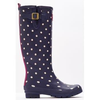 From nautical stripes and detailed florals to scenes that sing of our country heritage. Wherever you're tackling the great British weather Joules new printed wellies will make sure you stand out from the crowd. http://www.marshallshoes.co.uk/womens-c2/joules-womens-wellyprint-tall-printed-navy-white-spotted-boot-p4095