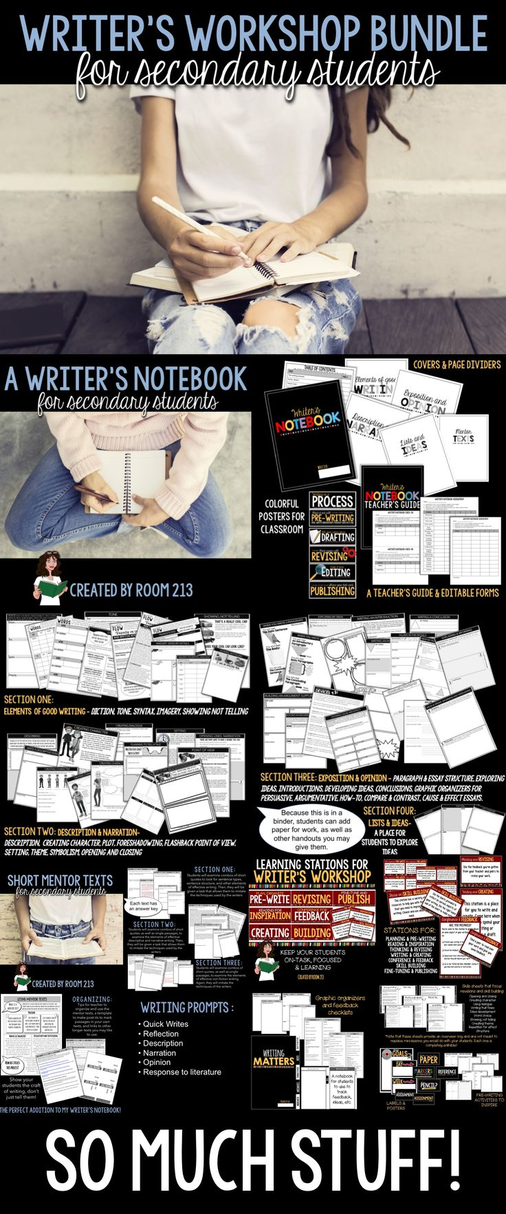 Teaching Writing In Middle And High School English? Check Out This Bundle:  Prompts,