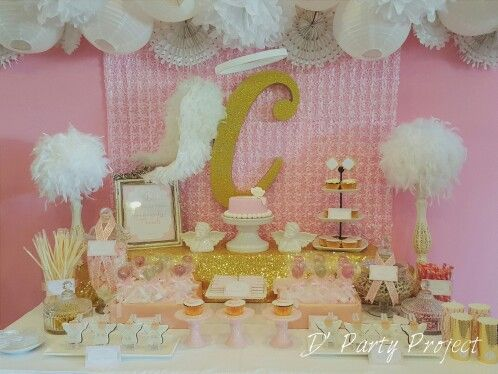 Delight in some heavenly treats... Sweet Treats Corner styling by D' Party Project for an Angel Theme Baptismal Party.  #angeltheme